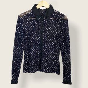 Anne Fontaine lace collared button down blouse